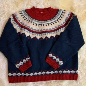 Eddie Bauer Wool Sweater red and blue large